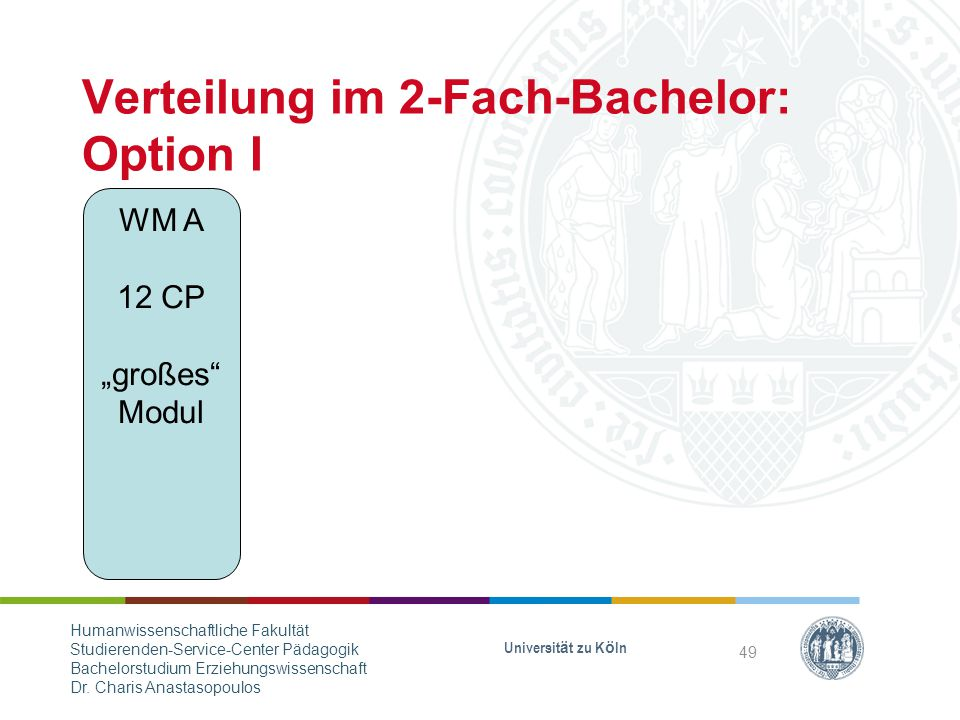 "Verteilung im 2-Fach-Bachelor: Option I WM A 12 CP ""großes Modul Universität zu Köln 49 Humanwissenschaftliche Fakultät Studierenden-Service-Center Pädagogik Bachelorstudium Erziehungswissenschaft Dr."