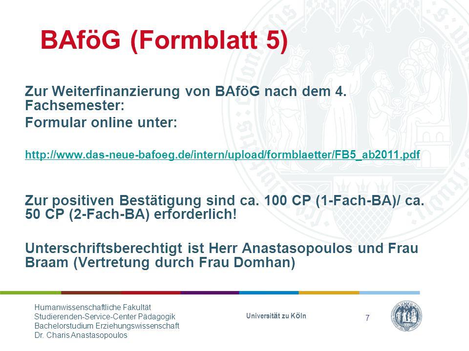 BAföG (Formblatt 5) Zur Weiterfinanzierung von BAföG nach dem 4.