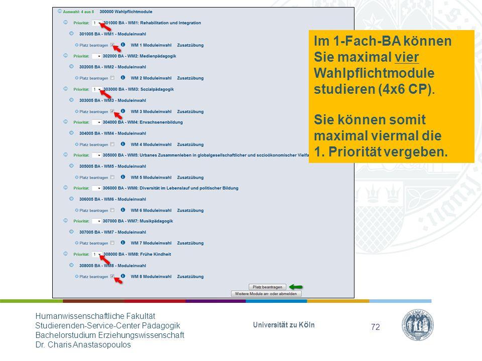Im 1-Fach-BA können Sie maximal vier Wahlpflichtmodule studieren (4x6 CP).