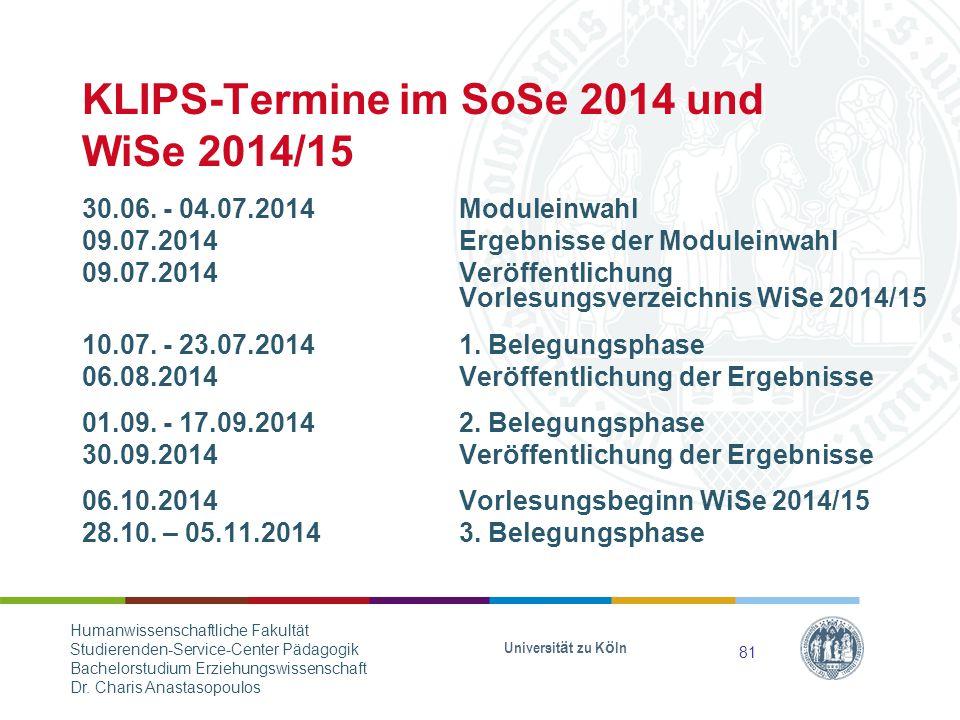 KLIPS-Termine im SoSe 2014 und WiSe 2014/15 30.06.