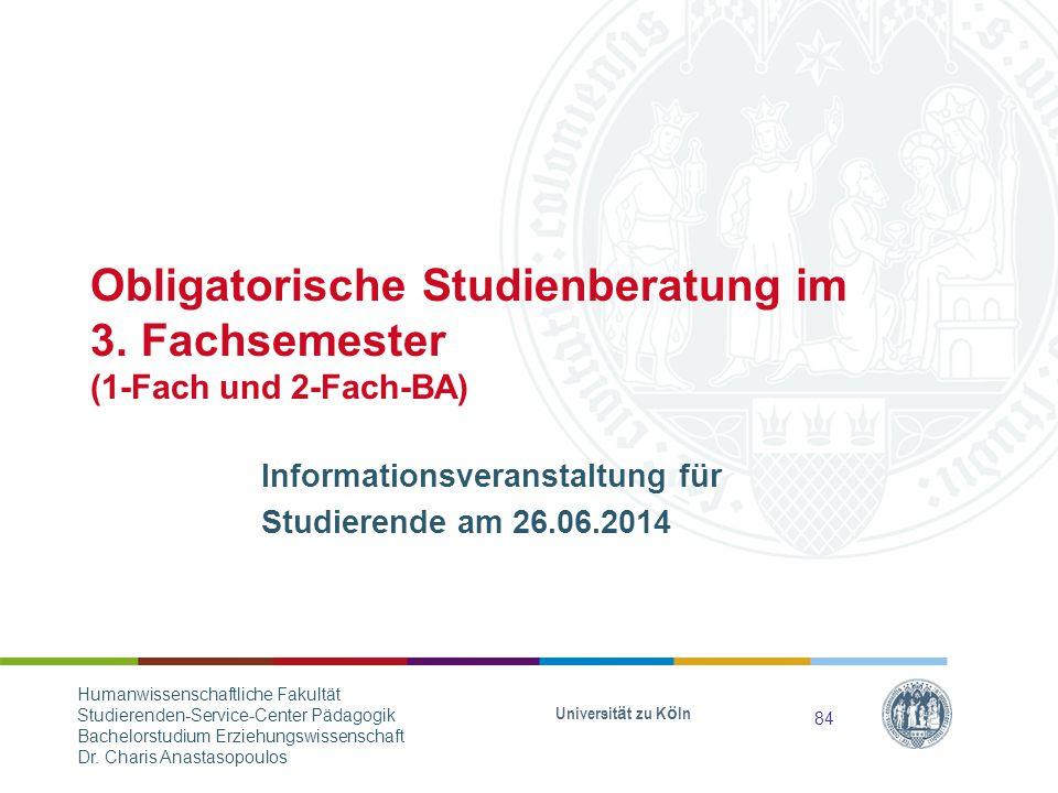 Obligatorische Studienberatung im 3.