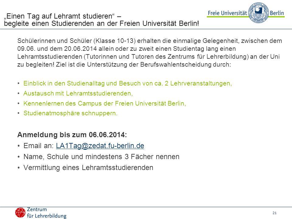 """21 """"Einen Tag auf Lehramt studieren – begleite einen Studierenden an der Freien Universität Berlin."""