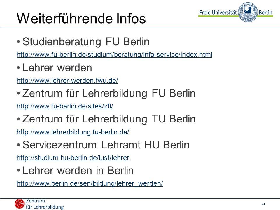 24 Weiterführende Infos Studienberatung FU Berlin http://www.fu-berlin.de/studium/beratung/info-service/index.html Lehrer werden http://www.lehrer-werden.fwu.de/ Zentrum für Lehrerbildung FU Berlin http://www.fu-berlin.de/sites/zfl/ Zentrum für Lehrerbildung TU Berlin http://www.lehrerbildung.tu-berlin.de/ Servicezentrum Lehramt HU Berlin http://studium.hu-berlin.de/lust/lehrer Lehrer werden in Berlin http://www.berlin.de/sen/bildung/lehrer_werden/