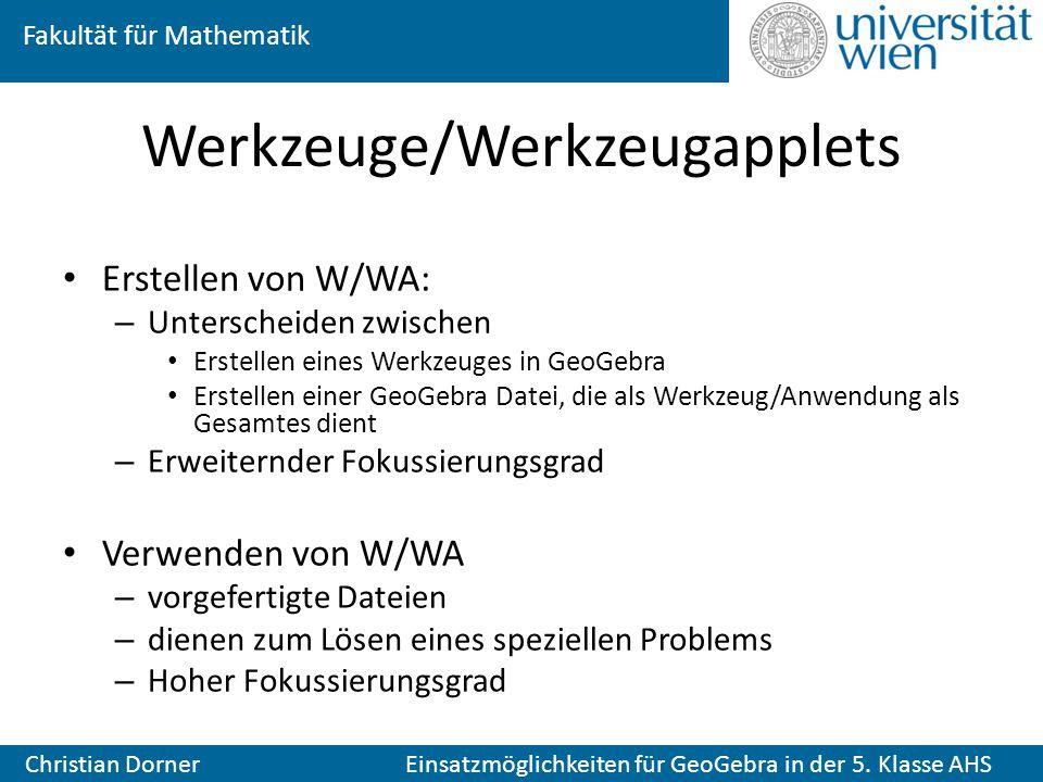 Fakultät für Mathematik Christian Dorner Einsatzmöglichkeiten für GeoGebra in der 5. Klasse AHS Werkzeuge/Werkzeugapplets Erstellen von W/WA: – Unters