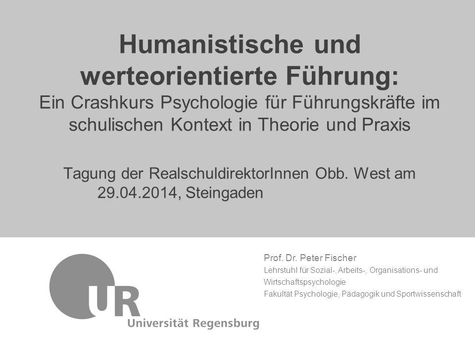 Prof. Dr. Peter Fischer Lehrstuhl für Sozial-, Arbeits-, Organisations- und Wirtschaftspsychologie Fakultät Psychologie, Pädagogik und Sportwissenscha
