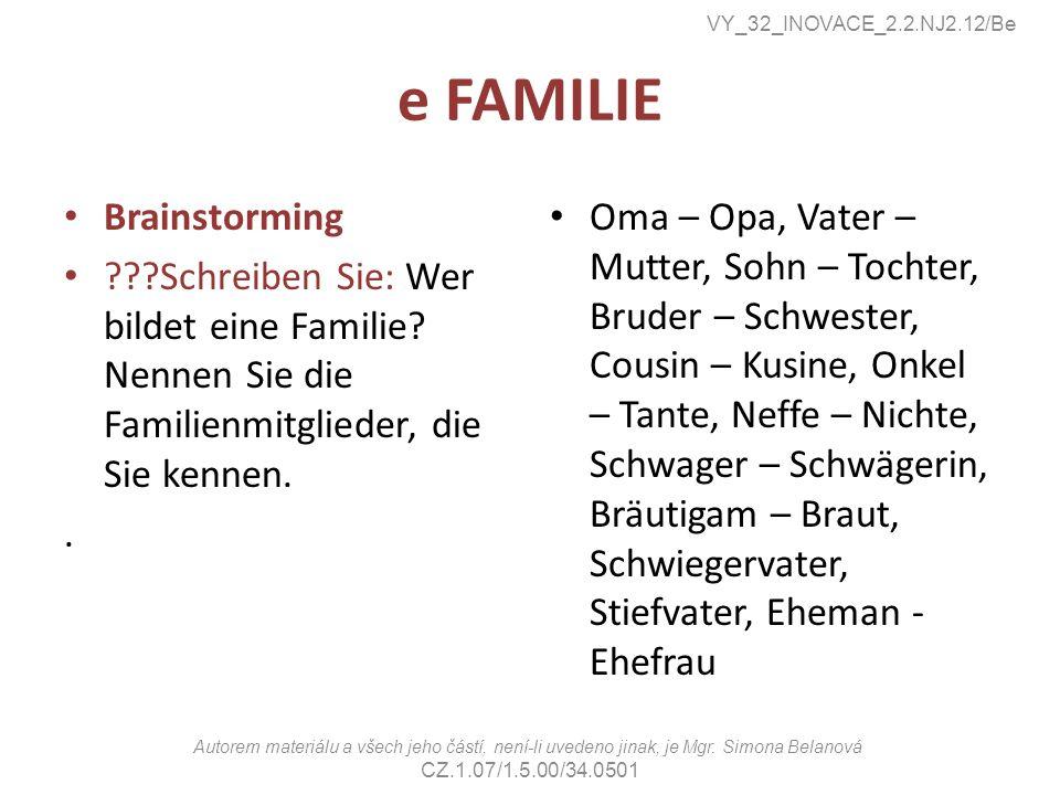 e FAMILIE Brainstorming ???Schreiben Sie: Wer bildet eine Familie? Nennen Sie die Familienmitglieder, die Sie kennen.. Oma – Opa, Vater – Mutter, Sohn