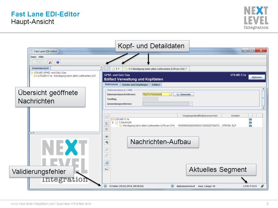 www.next-level-integration.com | business in the fast lane3 Fast Lane EDI-Editor Haupt-Ansicht Übersicht geöffnete Nachrichten Kopf- und Detaildaten Nachrichten-Aufbau Validierungsfehler Aktuelles Segment