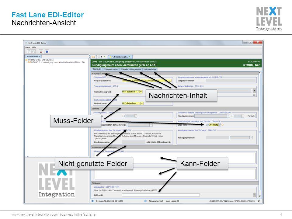 www.next-level-integration.com | business in the fast lane4 Fast Lane EDI-Editor Nachrichten-Ansicht Muss-Felder Kann-Felder Nicht genutzte Felder Nachrichten-Inhalt