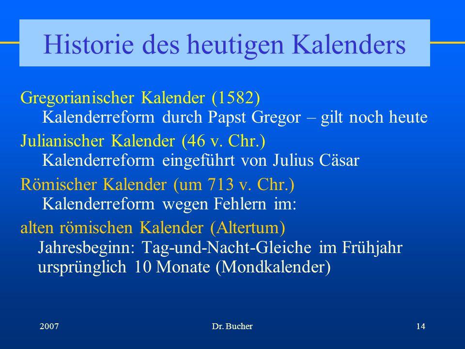 Dr. Bucher132007Sonnenkalender w w arum sind die Monate länger als die Mondmonate und unterschiedlich lang? Einfügen des Schalttags Ende Februar 4*30