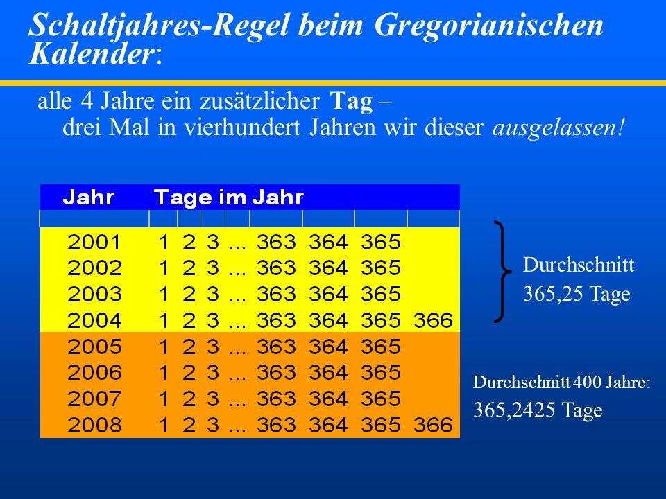 Dr. Bucher182007 Kalenderreform durch Papst Gregor  Julianischer Kalender hatte 365 Tage plus alle vier Jahre 1 Schalttag (=365,25 Tage, 11 Min. zu l