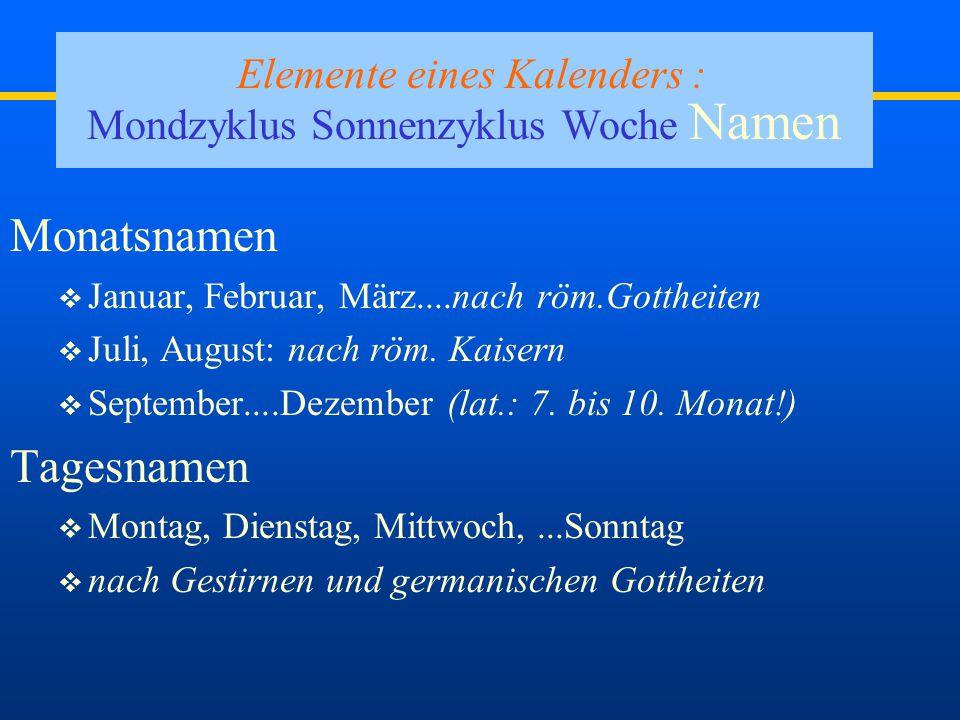 Dr. Bucher72007 Elemente eines Kalenders : Mondzyklus Sonnenzyklus Woche Namen Woche: 7 Tage Woche: 7 Tage – warum ausgerechnet 7 ? = viertel Mondzykl