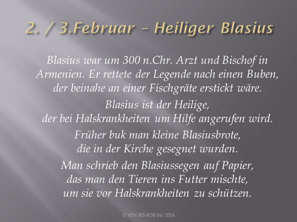 Blasius war um 300 n.Chr. Arzt und Bischof in Armenien. Er rettete der Legende nach einen Buben, der beinahe an einer Fischgräte erstickt wäre. Blasiu