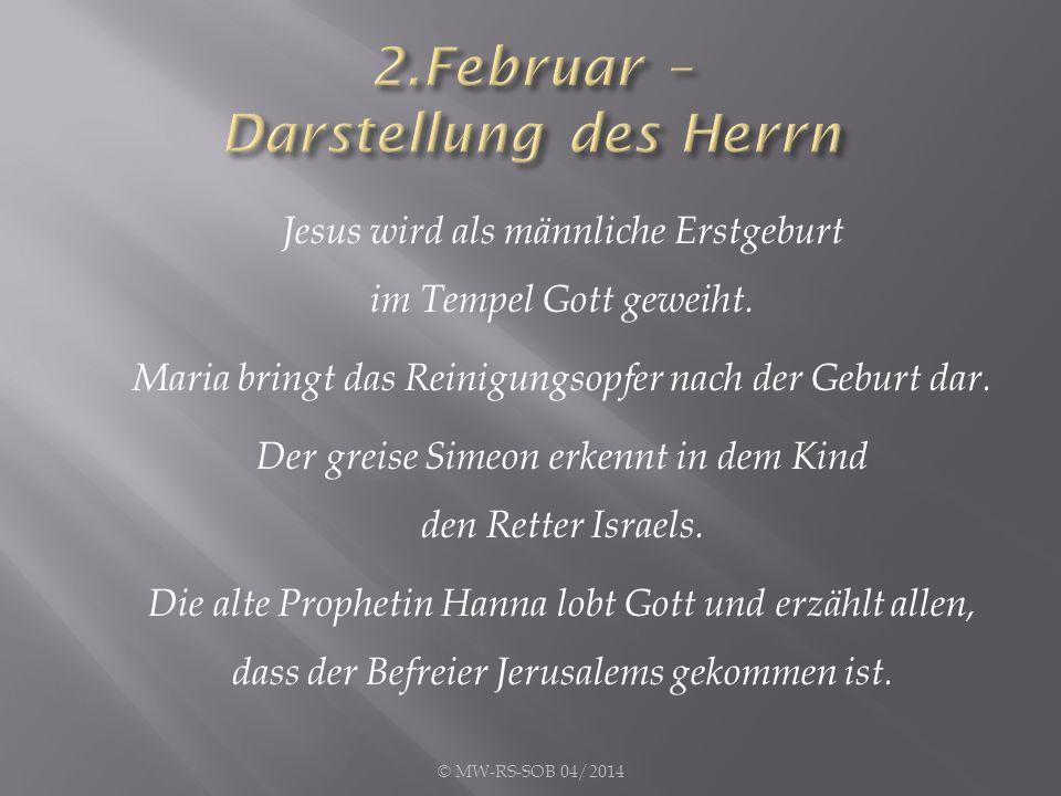 Jesus wird als männliche Erstgeburt im Tempel Gott geweiht.