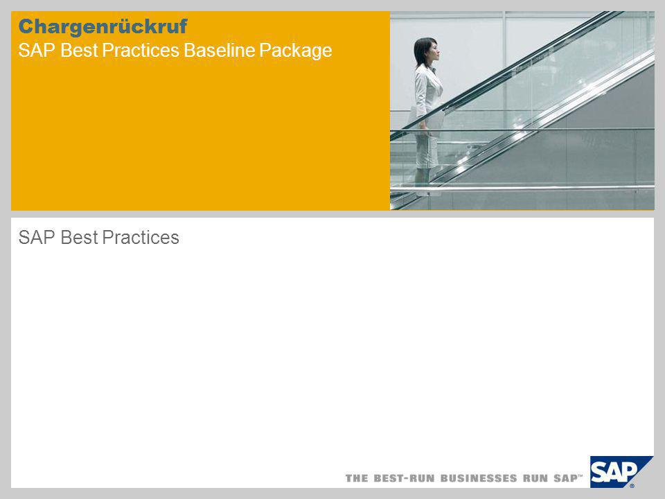 Chargenrückruf SAP Best Practices Baseline Package SAP Best Practices