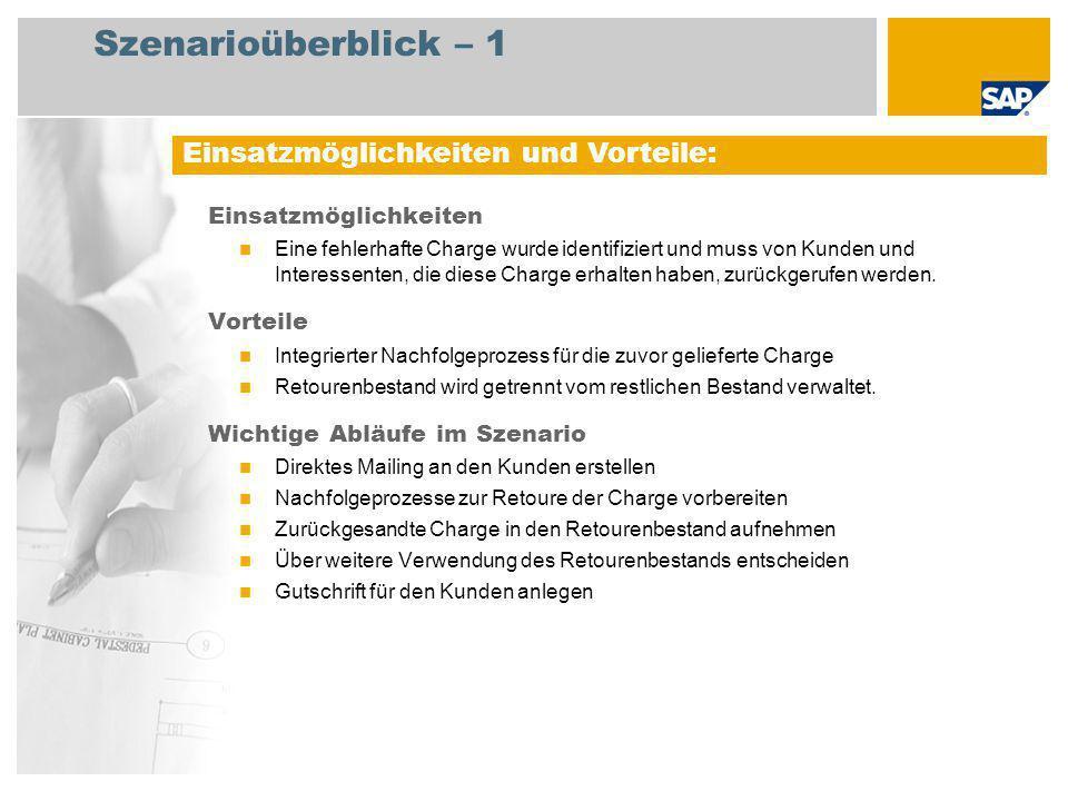 Szenarioüberblick – 2 Erforderlich Enhancement package 5 for SAP ERP 6.0 An den Abläufen beteiligte Benutzerrollen Lagermitarbeiter Sachbearbeiter Vertrieb Sachbearbeiter Fakturierung Leiter Debitorenbuchhaltung Erforderliche SAP-Anwendungen: