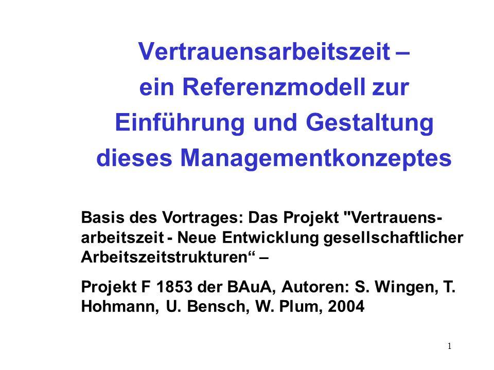 1 Vertrauensarbeitszeit – ein Referenzmodell zur Einführung und Gestaltung dieses Managementkonzeptes Basis des Vortrages: Das Projekt