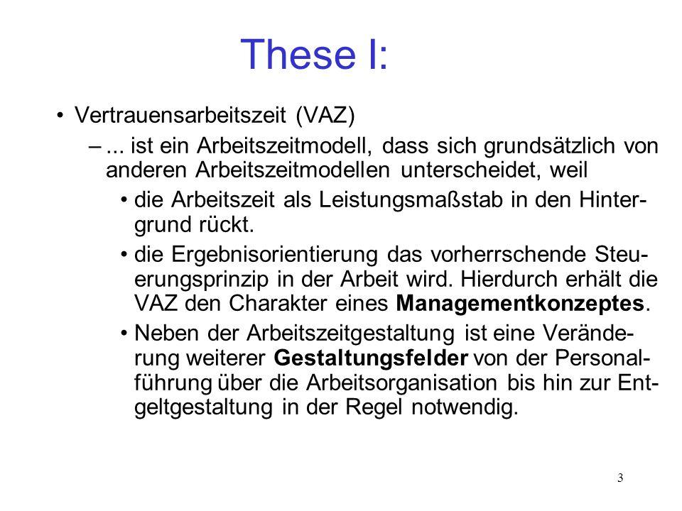 3 These I: Vertrauensarbeitszeit (VAZ) –... ist ein Arbeitszeitmodell, dass sich grundsätzlich von anderen Arbeitszeitmodellen unterscheidet, weil die