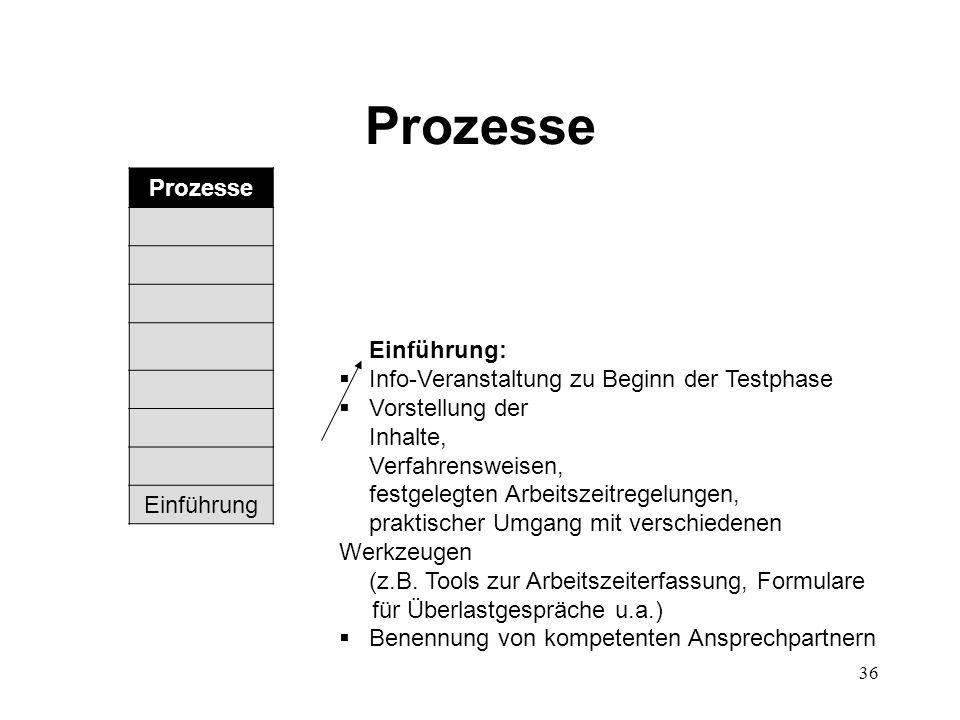 36 Prozesse Einführung:  Info-Veranstaltung zu Beginn der Testphase  Vorstellung der Inhalte, Verfahrensweisen, festgelegten Arbeitszeitregelungen,