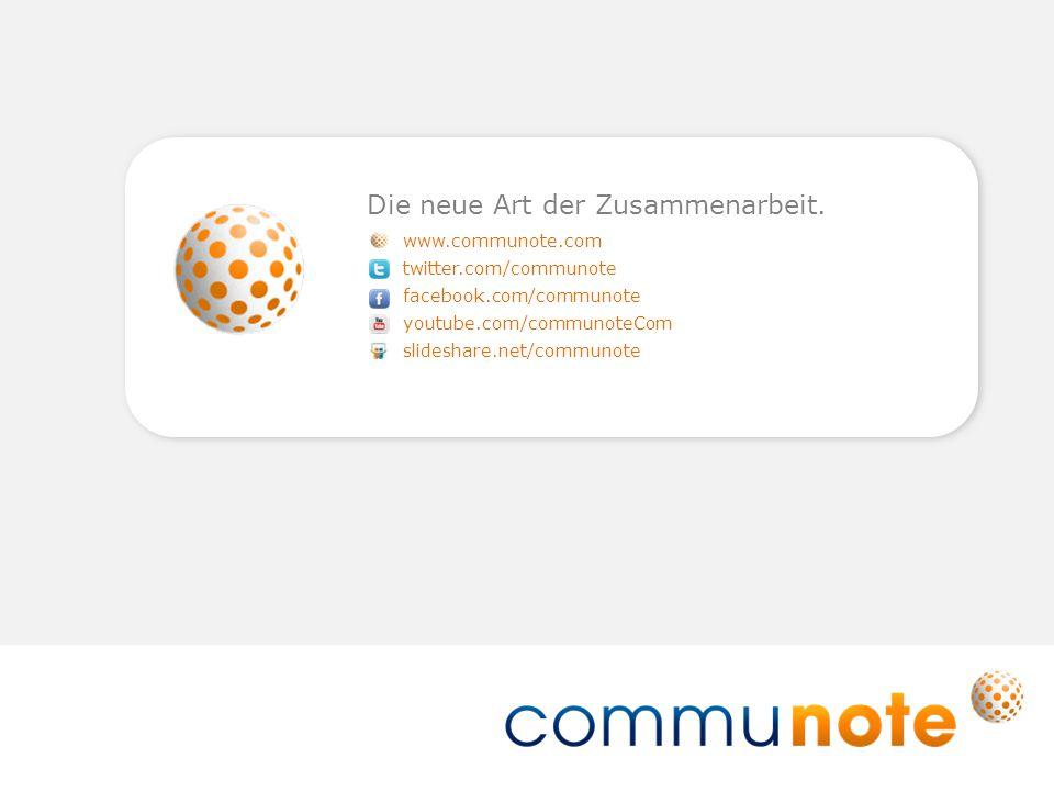 www.communote.com twitter.com/communote facebook.com/communote youtube.com/communoteCom slideshare.net/communote Die neue Art der Zusammenarbeit.
