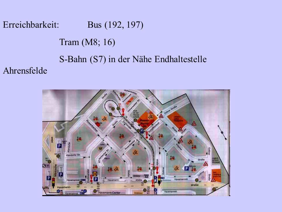 Erreichbarkeit: Bus (192, 197) Tram (M8; 16) S-Bahn (S7) in der Nähe Endhaltestelle Ahrensfelde