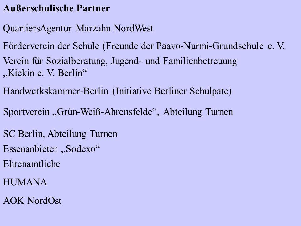 Außerschulische Partner QuartiersAgentur Marzahn NordWest Förderverein der Schule (Freunde der Paavo-Nurmi-Grundschule e. V. Verein für Sozialberatung