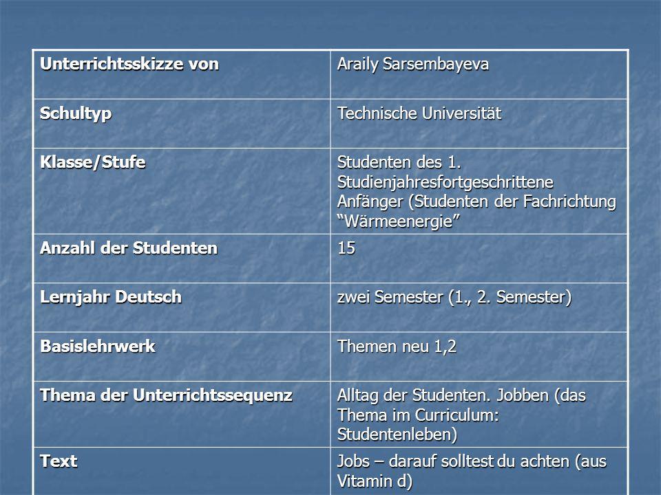 Unterrichtsskizze von Araily Sarsembayeva Schultyp Technische Universität Klasse/Stufe Studenten des 1. Studienjahresfortgeschrittene Anfänger (Studen