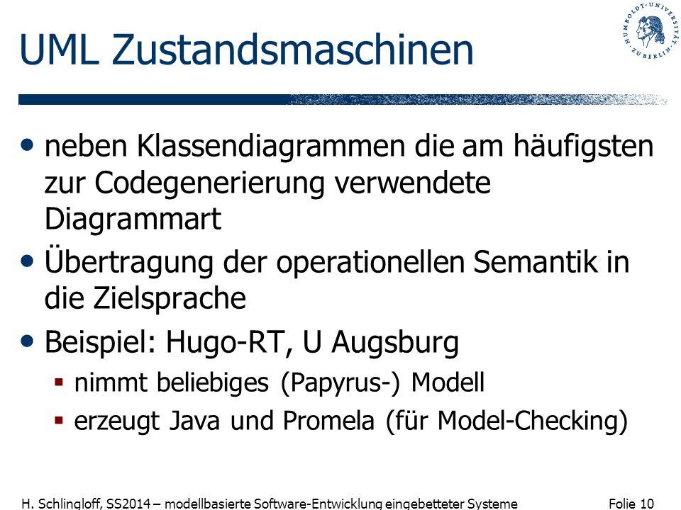 Folie 10 H. Schlingloff, SS2014 – modellbasierte Software-Entwicklung eingebetteter Systeme UML Zustandsmaschinen neben Klassendiagrammen die am häufi