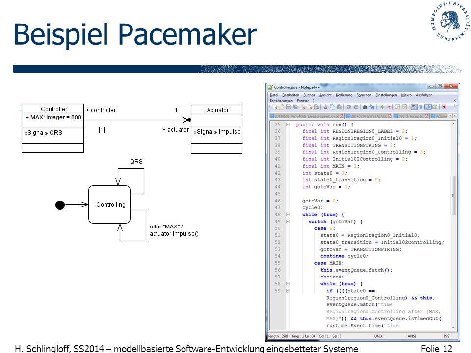 Folie 12 H. Schlingloff, SS2014 – modellbasierte Software-Entwicklung eingebetteter Systeme Beispiel Pacemaker