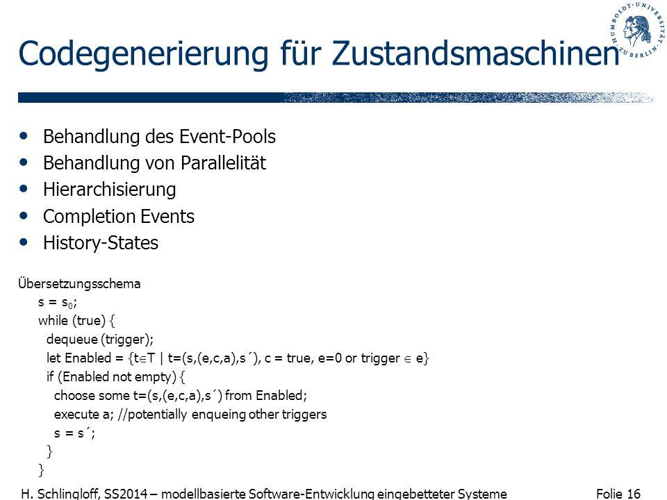 Folie 16 H. Schlingloff, SS2014 – modellbasierte Software-Entwicklung eingebetteter Systeme Codegenerierung für Zustandsmaschinen Behandlung des Event