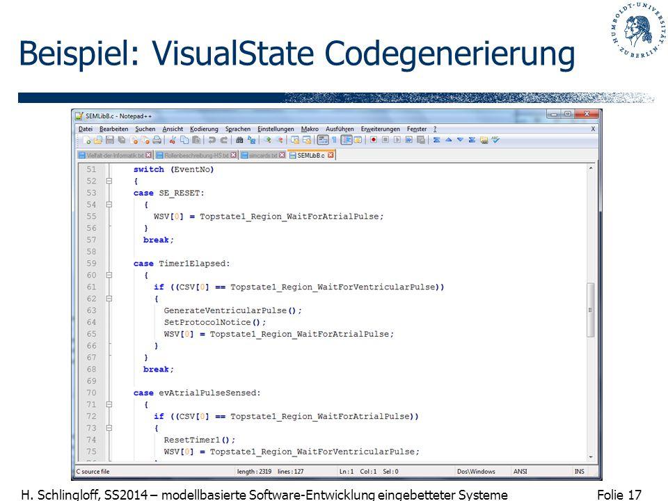 Folie 17 H. Schlingloff, SS2014 – modellbasierte Software-Entwicklung eingebetteter Systeme Beispiel: VisualState Codegenerierung