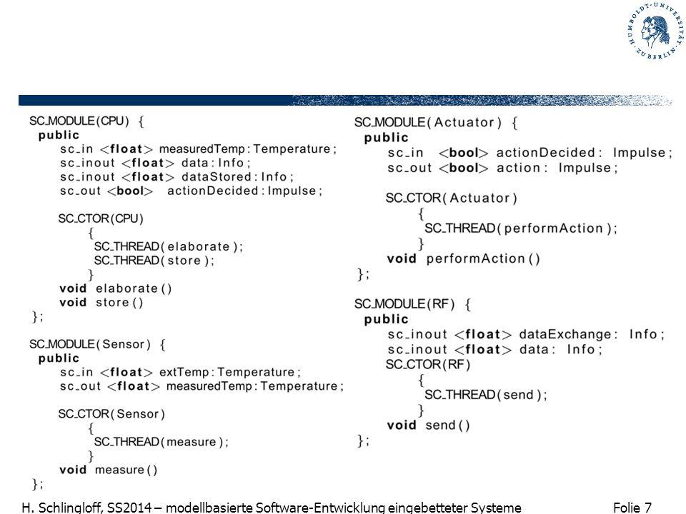Folie 7 H. Schlingloff, SS2014 – modellbasierte Software-Entwicklung eingebetteter Systeme