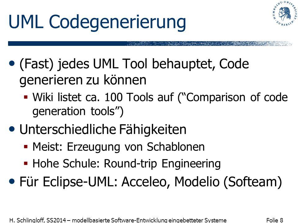 Folie 8 H. Schlingloff, SS2014 – modellbasierte Software-Entwicklung eingebetteter Systeme UML Codegenerierung (Fast) jedes UML Tool behauptet, Code g