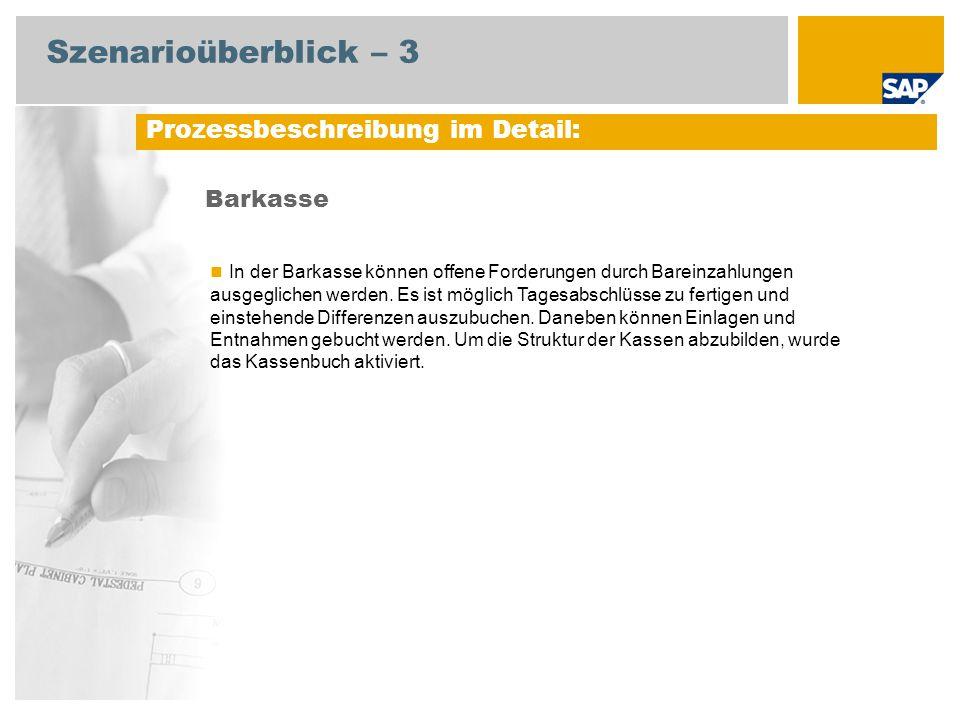 Szenarioüberblick – 3 Barkasse Prozessbeschreibung im Detail: In der Barkasse können offene Forderungen durch Bareinzahlungen ausgeglichen werden. Es