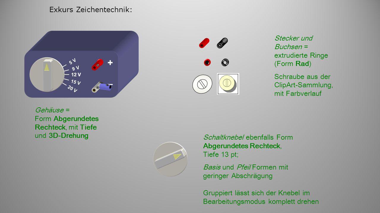 Exkurs Zeichentechnik: 12 V 9 V 5 V 15 V 20 V + – Stecker und Buchsen = extrudierte Ringe (Form Rad) Schraube aus der ClipArt-Sammlung, mit Farbverlauf Gehäuse = Form Abgerundetes Rechteck, mit Tiefe und 3D-Drehung Schaltknebel ebenfalls Form Abgerundetes Rechteck, Tiefe 13 pt; Basis und Pfeil Formen mit geringer Abschrägung Gruppiert lässt sich der Knebel im Bearbeitungsmodus komplett drehen