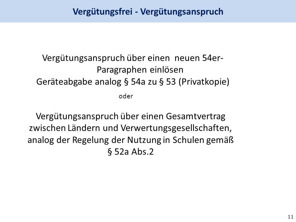 11 Vergütungsfrei - Vergütungsanspruch Vergütungsanspruch über einen neuen 54er- Paragraphen einlösen Geräteabgabe analog § 54a zu § 53 (Privatkopie) Vergütungsanspruch über einen Gesamtvertrag zwischen Ländern und Verwertungsgesellschaften, analog der Regelung der Nutzung in Schulen gemäß § 52a Abs.2 oder
