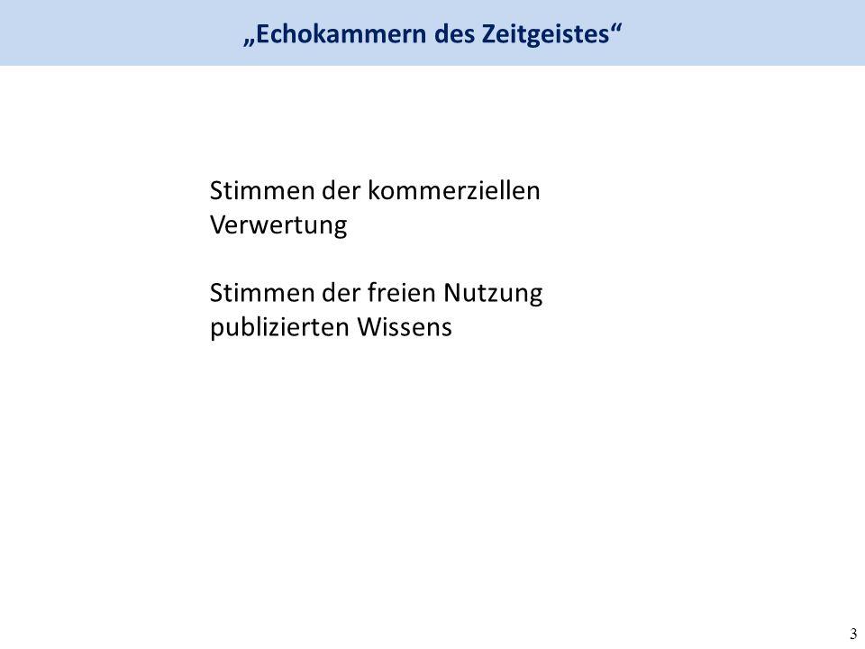 """3 Stimmen der kommerziellen Verwertung Stimmen der freien Nutzung publizierten Wissens """"Echokammern des Zeitgeistes"""