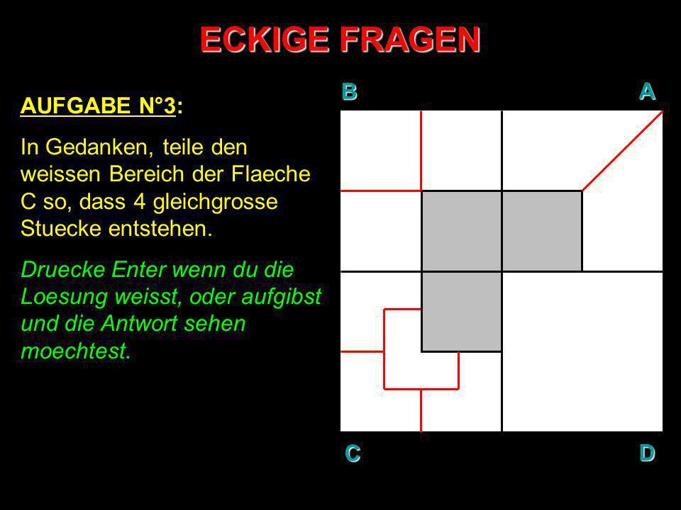 ECKIGE FRAGEN AUFGABE N°3: In Gedanken, teile den weissen Bereich der Flaeche C so, dass 4 gleichgrosse Stuecke entstehen. Druecke Enter wenn du die L