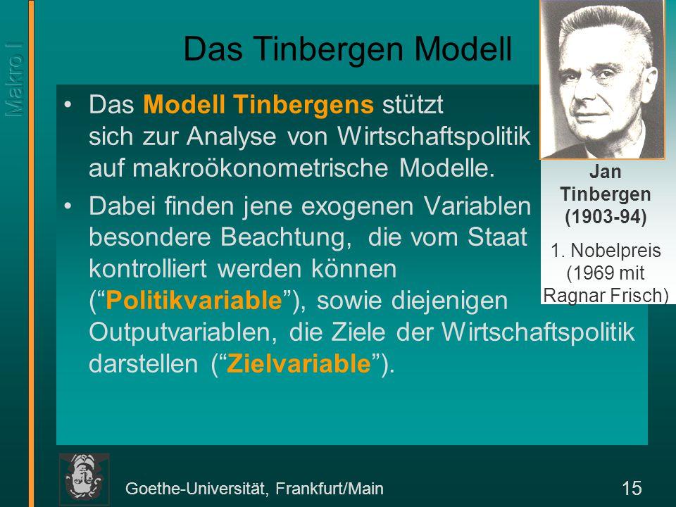 Goethe-Universität, Frankfurt/Main 15 Das Modell Tinbergens stützt sich zur Analyse von Wirtschaftspolitik auf makroökonometrische Modelle. Dabei find