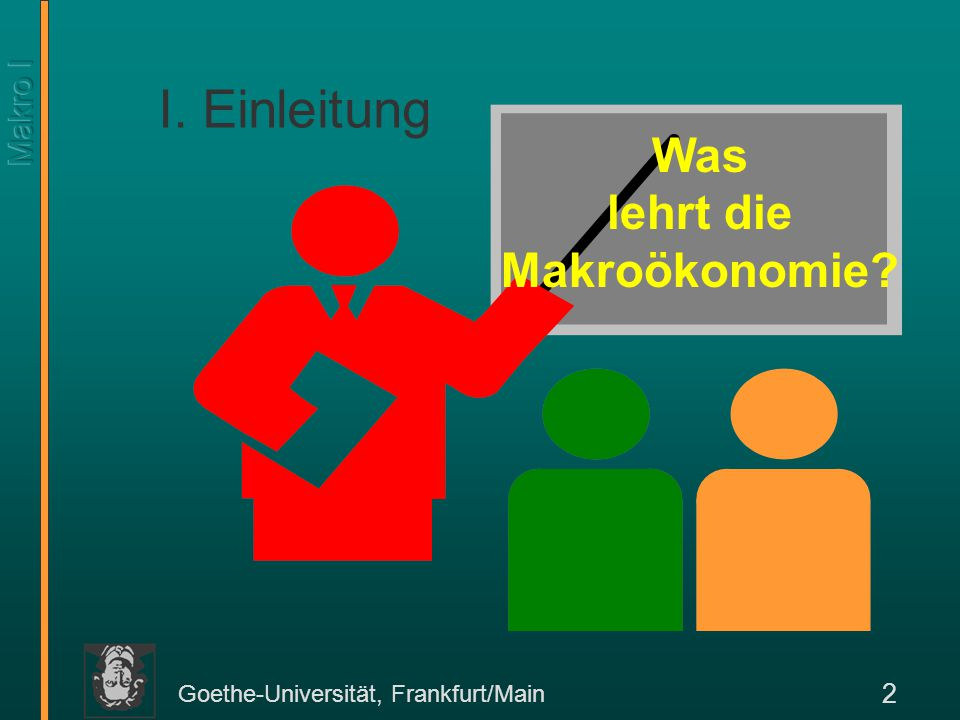 Goethe-Universität, Frankfurt/Main 3 Unterschied zur Mikroökonomie Die Mikroökonomie beschäftigt sich mit ökonomischem Handeln einzelner Akteure.
