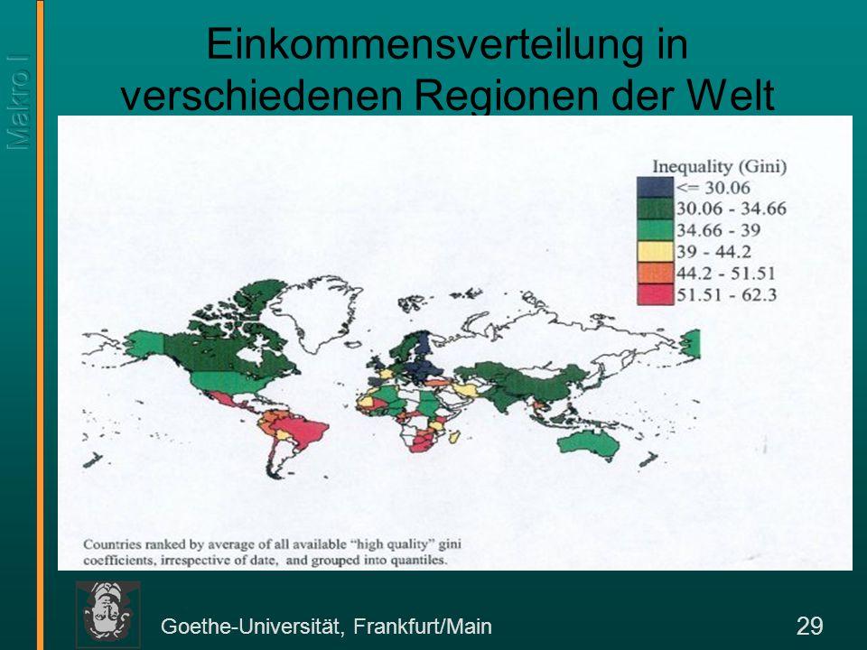 Goethe-Universität, Frankfurt/Main 29 Einkommensverteilung in verschiedenen Regionen der Welt