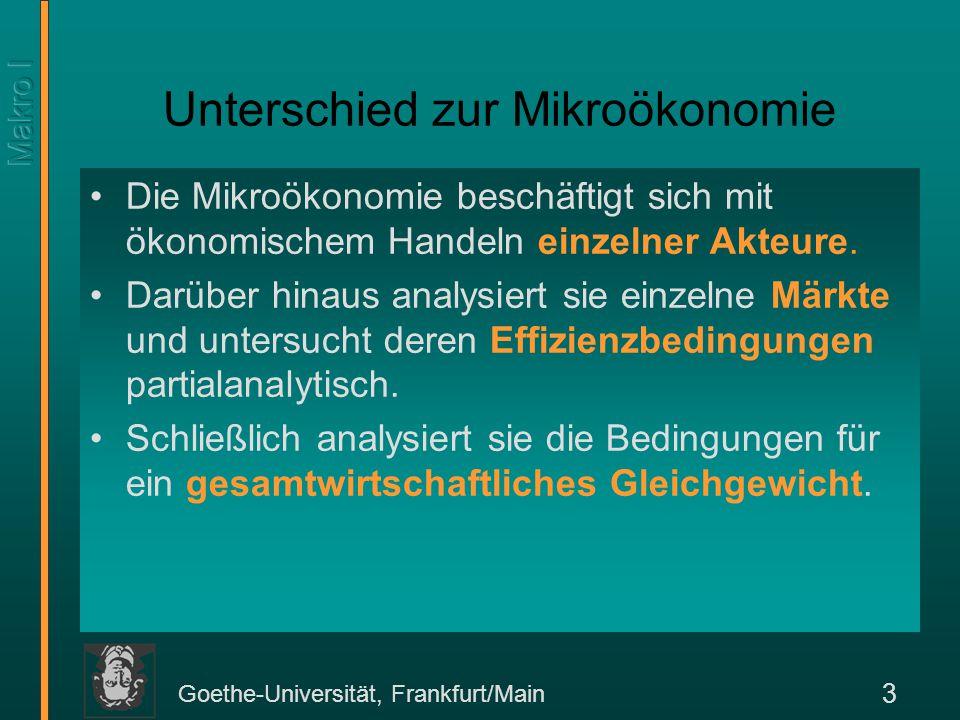 Goethe-Universität, Frankfurt/Main 3 Unterschied zur Mikroökonomie Die Mikroökonomie beschäftigt sich mit ökonomischem Handeln einzelner Akteure. Darü