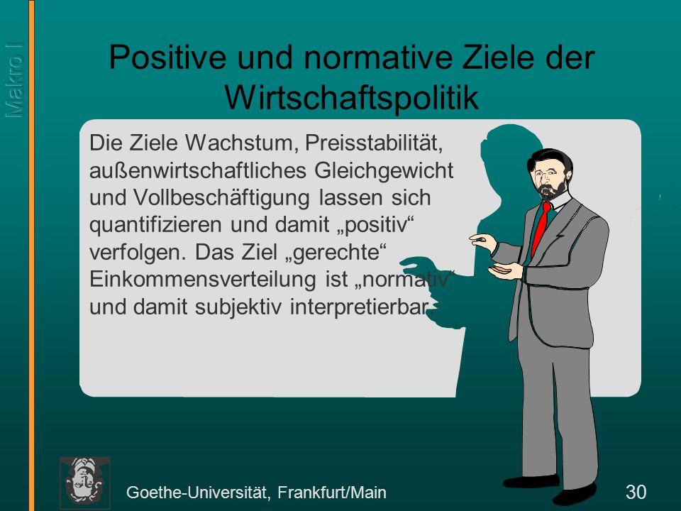 Goethe-Universität, Frankfurt/Main 30 Die Ziele Wachstum, Preisstabilität, außenwirtschaftliches Gleichgewicht und Vollbeschäftigung lassen sich quant