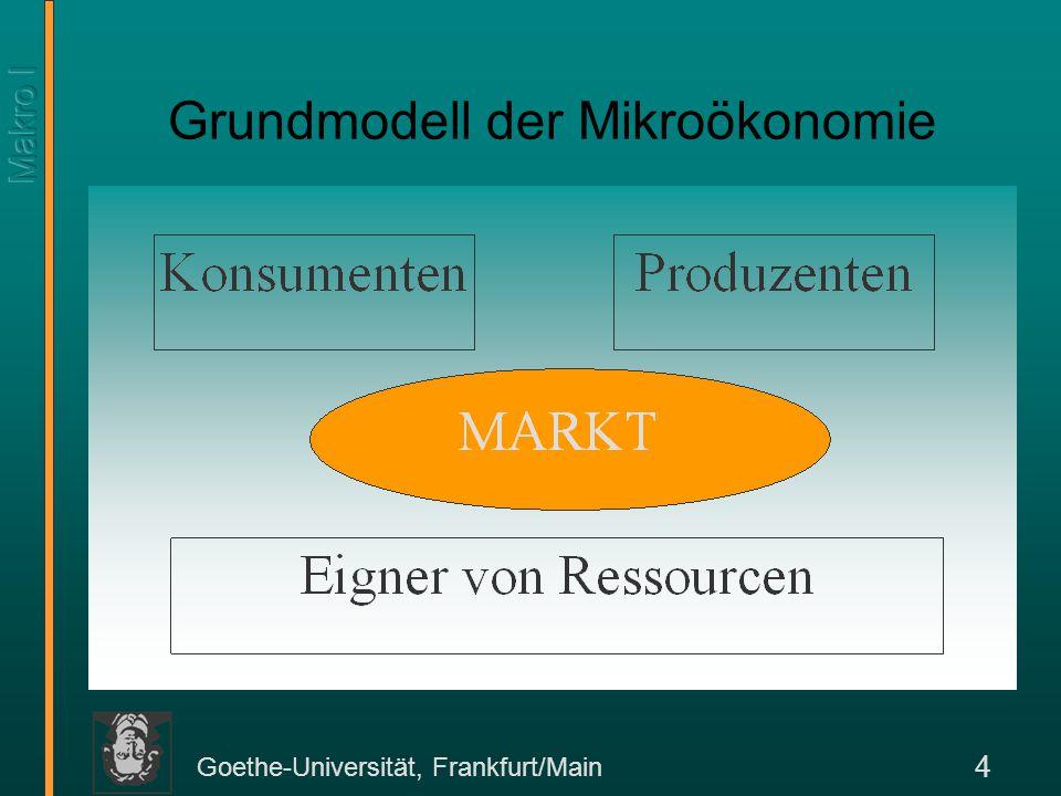 Goethe-Universität, Frankfurt/Main 15 Das Modell Tinbergens stützt sich zur Analyse von Wirtschaftspolitik auf makroökonometrische Modelle.