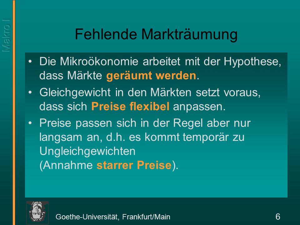 Goethe-Universität, Frankfurt/Main 6 Fehlende Markträumung Die Mikroökonomie arbeitet mit der Hypothese, dass Märkte geräumt werden. Gleichgewicht in