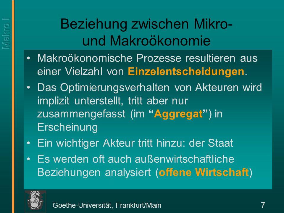 Goethe-Universität, Frankfurt/Main 8 Aggregation In der Mikroökonomie ist das Einkommen eines Haushalts h, y h = p 1 x 1 h + p 2 x 2 h +...