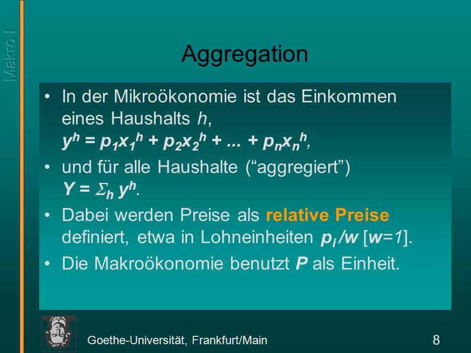 Goethe-Universität, Frankfurt/Main 8 Aggregation In der Mikroökonomie ist das Einkommen eines Haushalts h, y h = p 1 x 1 h + p 2 x 2 h +... + p n x n