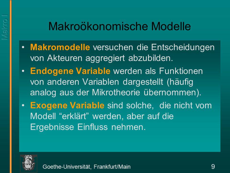 Goethe-Universität, Frankfurt/Main 9 Makroökonomische Modelle Makromodelle versuchen die Entscheidungen von Akteuren aggregiert abzubilden. Endogene V