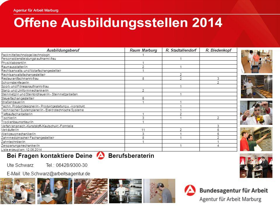 Offene Ausbildungsstellen 2013 Bei Fragen kontaktiere Deine Berufsberaterin Ute Schwarz Tel.: 06428/9300-30 E-Mail: Ute.Schwarz@arbeitsagentur.de AusbildungsberufRaum MarburgR.