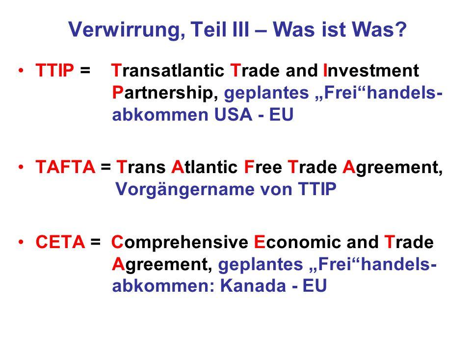 TTIP: Chemikaliensicherheit ZIEL von TTIP: Chemikalien, die in der USA über TSCA registriert wurden, sollen ungehindert auf den EU-Markt kommen (trotz EU-REACH-Vorgaben) Interesse von EU-Firmen: über Tochterfirmen in den USA ließen sich unter TTIP die härteren EU-Vorschriften umgehen Die rigiden europäischen Tierschutzvorschriften beim Test von Chemikalien gibt es in den USA nicht.