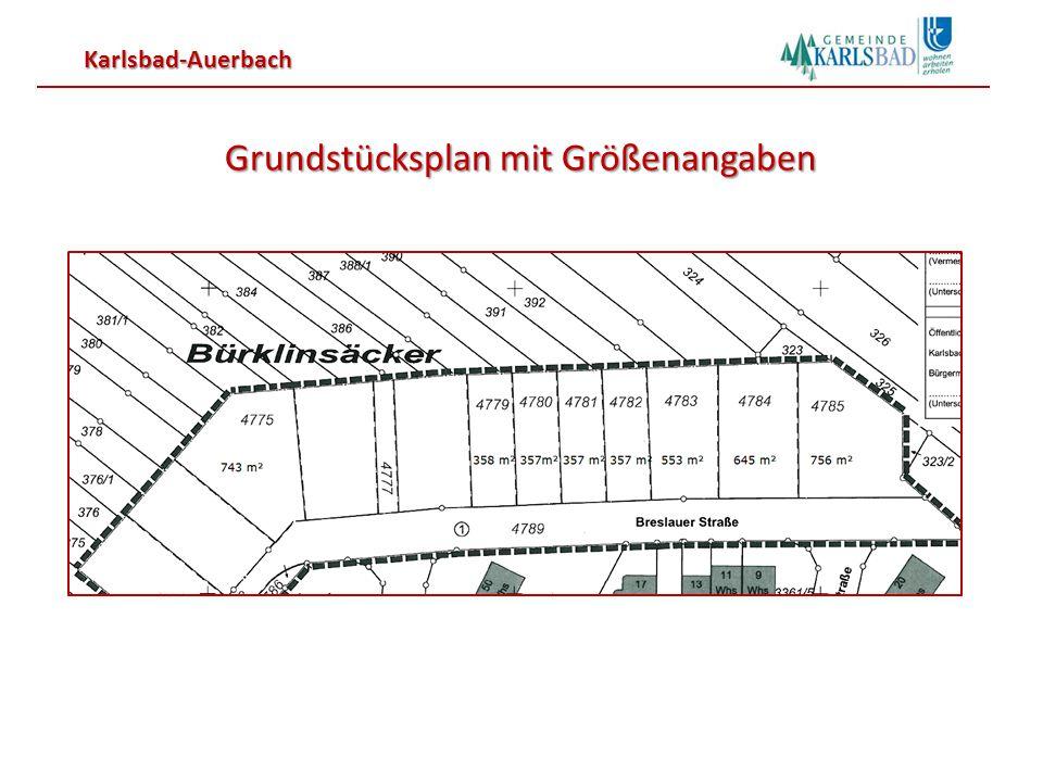 Karlsbad-Auerbach Grundstücksplan mit Größenangaben